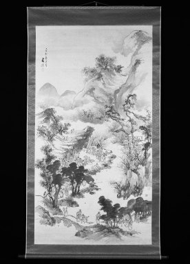Haruki Nanmei. <em>Landscape Depicting the Lanting Pavillion</em>, Mizunoto-zu, 1843. Hanging scroll, ink and color on paper, overall: 78 1/4 x 41 3/4 in. (198.7 x 106.1 cm). Brooklyn Museum, Gift of Joan B. Mirviss, 1997.183.3 (Photo: Brooklyn Museum, 1997.183.3_bw.jpg)