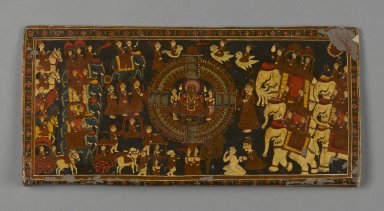 <em>Jain Book Cover</em>, 18th century. Opaque watercolor and metallic pigment on paper with lacquer overlay, 5 1/2 x 11 5/8 in. (14.0 x 29.5 cm). Brooklyn Museum, Gift of Dr. Bertram H. Schaffner, 1997.184.1 (Photo: Brooklyn Museum, 1997.184.1_PS2.jpg)