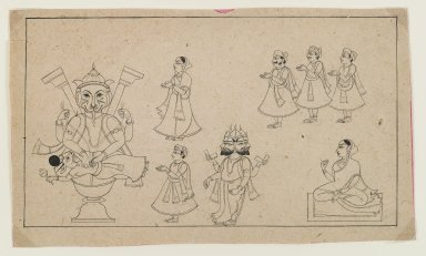 <em>The Legend of Narasimha</em>, ca. 1800. Black ink on paper, 6 x 10 in. (15.0 x 25.5 cm). Brooklyn Museum, Gift of Dr. Bertram H. Schaffner, 1997.184.3 (Photo: Brooklyn Museum, 1997.184.3_IMLS_PS4.jpg)
