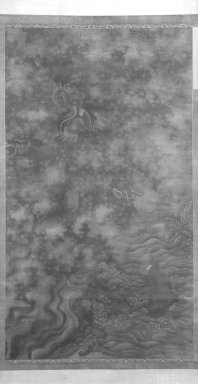 <em>Carp Passing the Dragon Gate</em>, 1368-1644 (possibly). Ink and color on silk, overall: 110 1/2 x 39 3/4 in., 44 in. with rollers. Brooklyn Museum, Gift of the C. C. Wang Family Collection, 1997.185.10 (Photo: Brooklyn Museum, 1997.185.10_bw.jpg)
