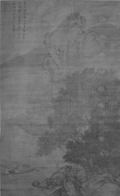 Style of Tang Yin (Chinese, 1470-1523). <em>Fishermen Returning in the Rain</em>, 1368-1644. Ink and light color on silk, overall: 69 x 44 in. Brooklyn Museum, Gift of the C. C. Wang Family Collection, 1997.185.11 (Photo: Brooklyn Museum, 1997.185.11_bw.jpg)