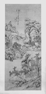 Wang Chen. <em>Mountain Landscape in the Style of Wu Zhen</em>, 1790. Hanging scroll, Ink on paper, overall: 104 1/4 x 29 3/4 in., 33 3/4 in. with rollers. Brooklyn Museum, Gift of the C. C. Wang Family Collection, 1997.185.12 (Photo: Brooklyn Museum, 1997.185.12_bw.jpg)