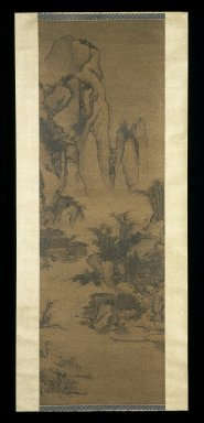 School of Li Yin. <em>Mountain Landscape in the Style of Guo Xi</em>, 18th century. Ink and light color on silk, overall: 108 1/8 x 27 15/16 in., 32 5/8 in. with rollers. Brooklyn Museum, Gift of the C. C. Wang Family Collection, 1997.185.15 (Photo: Brooklyn Museum, 1997.185.15_IMLS_SL2.jpg)