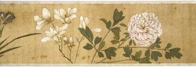 Chen Jiayan (Chinese, 1539-1623 or later). <em>One Hundred Flowers</em>, dated 1629. Color on silk, 10 x 10 3/8in. (25.4 x 26.4cm). Brooklyn Museum, Gift of the C. C. Wang Family Collection, 1997.185.18 (Photo: Brooklyn Museum, 1997.185.18.01_SL1.jpg)