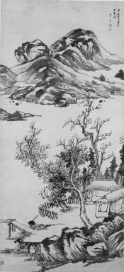 Attributed to Li Liufang. <em>Mountain Landscape</em>, early 17th century. Ink on paper, overall: 95 3/8 x 28 7/8 in., 31 7/8 in. with rollers. Brooklyn Museum, Gift of the C. C. Wang Family Collection, 1997.185.19 (Photo: Brooklyn Museum, 1997.185.19_bw.jpg)
