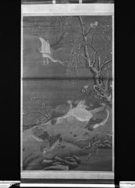 <em>Geese in the Snow</em>, 1368-1644. Ink and color on silk, With mount: 124 x 47 1/4 in. (315 x 120 cm). Brooklyn Museum, Gift of the C. C. Wang Family Collection, 1997.185.2 (Photo: Brooklyn Museum, 1997.185.2_bw.jpg)