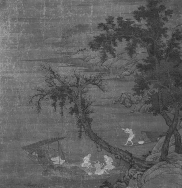 <em>Fishermen on Boats Seen through Willow Trees</em>, 17th century. Ink and color on silk, overall: 73 1/4 x 31 7/8 in., 34 in. with rollers. Brooklyn Museum, Gift of the C. C. Wang Family Collection, 1997.185.6 (Photo: Brooklyn Museum, 1997.185.6_bw.jpg)