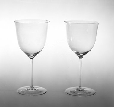 Josef Hoffmann (Austrian, 1870-1956). <em>Water Goblet</em>, Designed 1920. Colorless glass, height: 7 1/4 in. (18.5 cm). Brooklyn Museum, Gift of Rosemarie Haag Bletter and Martin Filler, 1997.186.1. Creative Commons-BY (Photo: , 1997.186.1_1997.186.2_bw.jpg)