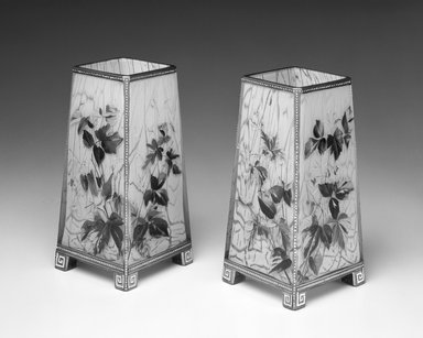 <em>Vase, One of Pair</em>, ca. 1880. Glass, paint, 8 x 4 x 4 in. Brooklyn Museum, Gift of Rosemarie Haag Bletter and Martin Filler, 1997.186.6. Creative Commons-BY (Photo: , 1997.186.5_1997.186.6_bw.jpg)