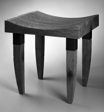 Chris Lehrecke. <em>Stool</em>, 1997. Sand-blasted oak, blackened bronze, 18 x 18 x 16 in. (45.7 x 45.7 x 40.6 cm). Brooklyn Museum, Gift of Chris Lehrecke, 1997.187.1. Creative Commons-BY (Photo: Brooklyn Museum, 1997.187.1_bw_IMLS.jpg)