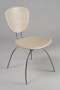 Chris Lehrecke. <em>Chair, No. 1</em>, 1997. Finland plywood, blackened steel, 32 1/8 x 18 1/8 x 22 7/8 in. (81.6 x 46 x 58.1 cm). Brooklyn Museum, Gift of Chris Lehrecke, 1997.187.2. Creative Commons-BY (Photo: Brooklyn Museum, 1997.187.2.jpg)