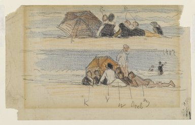 Edward Henry Potthast (American, 1857-1927). <em>Two Sketches of Beach Figures</em>, late 19th-early 20th century. Graphite and crayon on cream wove paper, Sheet: 5 x 8 in. (12.7 x 20.3 cm). Brooklyn Museum, Gift of Julian and Elaine Hyman, 1997.199.1 (Photo: Brooklyn Museum, 1997.199.1_PS6.jpg)