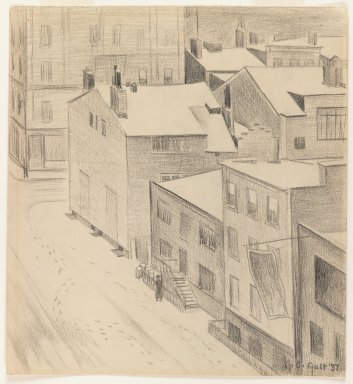 George Copeland Ault (American, 1891-1948). <em>Commerce Street, Greenwich Village</em>, 1937. Graphite on cream wove paper, sheet: 12 15/16 x 11 15/16 in. (32.9 x 30.3 cm). Brooklyn Museum, Gift of Julian and Elaine Hyman, 1997.199.2 (Photo: Brooklyn Museum, 1997.199.2_IMLS_PS3.jpg)