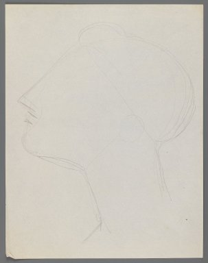 Elie Nadelman (American, 1882-1946). <em>Head</em>, n.d. Graphite on thin, cream, smooth wove paper, Sheet: 11 x 8 1/2 in. (27.9 x 21.6 cm). Brooklyn Museum, Gift of Virginia M. Zabriskie, 1997.202.2. © artist or artist's estate (Photo: Brooklyn Museum, 1997.202.2_IMLS_PS3.jpg)