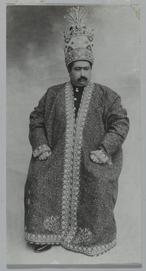 <em>Studio Portrait of Muhammad 'Ali Shah Wearing the Kayanid Crown, One of 274 Vintage Photographs</em>, ca. 1907. Gelatin silver photograph, 6 9/16 x 3 7/16 in.  (16.7 x 8.7 cm). Brooklyn Museum, Purchase gift of Leona Soudavar in memory of Ahmad Soudavar, 1997.3.100 (Photo: Brooklyn Museum, 1997.3.100_PS2.jpg)