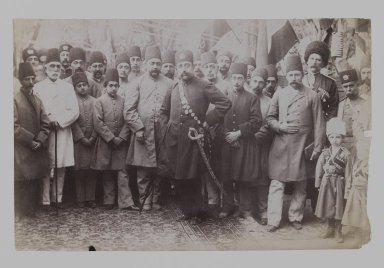 <em>Mozaffar al-Din Shah and his Entourage, One of 274 Vintage Photographs</em>, ca. 1902. Albumen silver photograph, 5 9/16 x 8 9/16 in.  (14.1 x 21.7 cm). Brooklyn Museum, Purchase gift of Leona Soudavar in memory of Ahmad Soudavar, 1997.3.102 (Photo: Brooklyn Museum, 1997.3.102_IMLS_PS3.jpg)