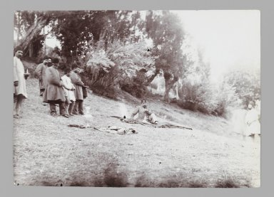 <em>Mozaffar al-Din Shah taking Tea in the Country, with Servants in Attendance, One of 274 Vintage Photographs</em>, late 19th-early 20th century. Gelatin silver printing out paper, 4 9/16 x 6 7/16 in.  (11.6 x 16.4 cm). Brooklyn Museum, Purchase gift of Leona Soudavar in memory of Ahmad Soudavar, 1997.3.103 (Photo: Brooklyn Museum, 1997.3.103_IMLS_PS3.jpg)