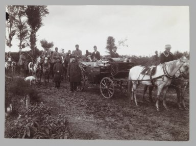<em>Mozaffer al-Din Shah in a Horse -driven Carriage,  One of 274 Vintage Photographs</em>, late 19th-early 20th century. Gelatin silver printing out paper, 4 9/16 x 6 1/4 in.  (11.6 x 15.9 cm). Brooklyn Museum, Purchase gift of Leona Soudavar in memory of Ahmad Soudavar, 1997.3.104 (Photo: Brooklyn Museum, 1997.3.104_IMLS_PS3.jpg)
