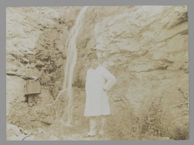 <em>Mozaffar al-Din Shah Posing before a Waterfall, One of 274 Vintage Photographs</em>, late 19th-early 20th century. Gelatin silver printing out paper, 4 5/8 x 6 1/4 in.  (11.7 x 15.9 cm). Brooklyn Museum, Purchase gift of Leona Soudavar in memory of Ahmad Soudavar, 1997.3.107 (Photo: Brooklyn Museum, 1997.3.107_IMLS_PS3.jpg)