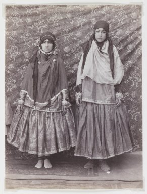 Possibly Antoin Sevruguin. <em>Two Women in Tribal Costume</em>, late 19th century. Albumen silver photograph, 7 3/8 x 5 1/2 in.  (18.7 x 14.0 cm). Brooklyn Museum, Purchase gift of Leona Soudavar in memory of Ahmad Soudavar, 1997.3.10 (Photo: Brooklyn Museum, 1997.3.10_IMLS_PS3.jpg)