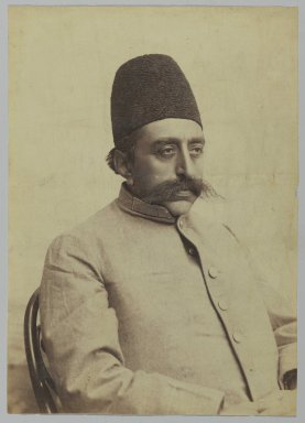 <em>Studio Portrait of Mozaffar al-Din Shah in Informal Attire, One of 274 Vintage Photographs</em>, 1875-1925. Albumen silver photograph, 9 3/16 x 6 1/2 in.  (23.3 x 16.5 cm). Brooklyn Museum, Purchase gift of Leona Soudavar in memory of Ahmad Soudavar, 1997.3.111 (Photo: Brooklyn Museum, 1997.3.111_PS2.jpg)