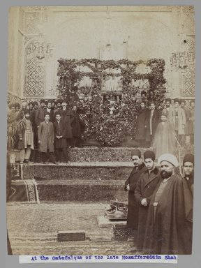 <em>At the Catafalque of the late Mozaffar al-Din Shah,  One of 274 Vintage Photographs</em>, 1906. Albumen silver photograph, 8 3/16 x 6 3/16 in.  (20.8 x 15.7 cm). Brooklyn Museum, Purchase gift of Leona Soudavar in memory of Ahmad Soudavar, 1997.3.113 (Photo: Brooklyn Museum, 1997.3.113_IMLS_PS3.jpg)