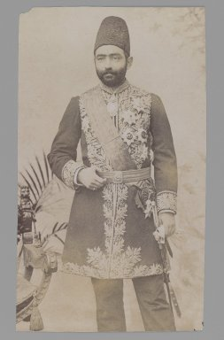 <em>Studio Portrait of Prime Minister Sadr a'zam Amin al-Soltan, One of 274 Vintage Photographs</em>, before 1900. Gelatin silver printing out paper, 6 3/4 x 3 15/16 in.  (17.1 x 10 cm). Brooklyn Museum, Purchase gift of Leona Soudavar in memory of Ahmad Soudavar, 1997.3.114 (Photo: Brooklyn Museum, 1997.3.114_IMLS_PS3.jpg)