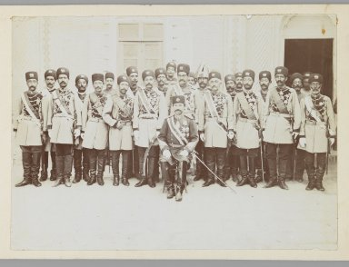 <em>Group Portrait of an Officer with his Regiment in a Courtyard, One of 274 Vintage Photographs</em>, late 19th-early 20th century. Gelatin silver printing out paper, Photo:  5 1/16 x 7 1/16 in.  (12.9 x 17.9 cm);. Brooklyn Museum, Purchase gift of Leona Soudavar in memory of Ahmad Soudavar, 1997.3.118 (Photo: Brooklyn Museum, 1997.3.118_IMLS_PS3.jpg)