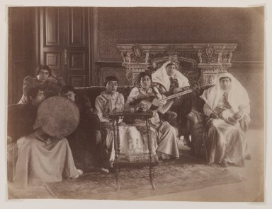 <em>Group Portrait of Women Playing Musical Instruments</em>, late 19th century. Albumen silver photograph, 6 3/16 x 8 1/16 in.  (15.7 x 20.5 cm). Brooklyn Museum, Purchase gift of Leona Soudavar in memory of Ahmad Soudavar, 1997.3.11 (Photo: Brooklyn Museum, 1997.3.11_IMLS_PS3.jpg)