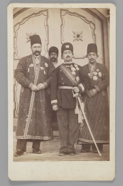 <em>Mohammad 'Ali Shah with Mirza Mohammad Ebrahim Khan, the Moavin al-Dowleh, and Company, One of 274 Vintage Photographs</em>, before 1907. Albumen silver photograph, Photo:  8 3/8 x 6 1/4 in.  (21.3 x 15.9 cm);. Brooklyn Museum, Purchase gift of Leona Soudavar in memory of Ahmad Soudavar, 1997.3.121 (Photo: Brooklyn Museum, 1997.3.121_IMLS_PS3.jpg)