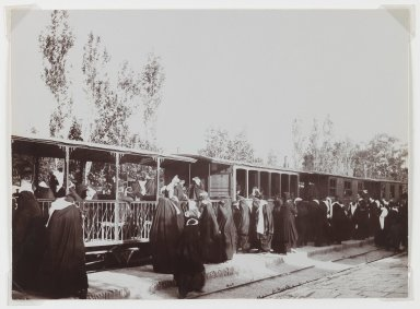 Antoin Sevruguin (probably). <em>Veiled Women Boarding a Train, One of 274 Vintage Photographs</em>, late 19th century. Albumen silver photograph, 4 3/4 x 6 1/2 in.  (12.1 x 16.5 cm). Brooklyn Museum, Purchase gift of Leona Soudavar in memory of Ahmad Soudavar, 1997.3.12 (Photo: Brooklyn Museum, 1997.3.12_IMLS_PS3.jpg)