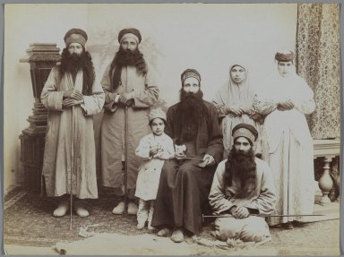 <em>A Family of Dervishes</em>, late 19th-early 20th century. Albumen silver photograph, 6 1/8 x 8 3/16 in.  (15.6 x 20.8 cm). Brooklyn Museum, Purchase gift of Leona Soudavar in memory of Ahmad Soudavar, 1997.3.139 (Photo: Brooklyn Museum, 1997.3.139_PS2.jpg)