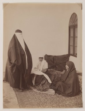 Possibly Antoin Sevruguin. <em>Two Veiled Women and a Child</em>, late 19th century. Albumen silver photograph, 9 1/8 x 6 3/16 in.  (23.2 x 15.7 cm). Brooklyn Museum, Purchase gift of Leona Soudavar in memory of Ahmad Soudavar, 1997.3.13 (Photo: Brooklyn Museum, 1997.3.13_IMLS_PS3.jpg)