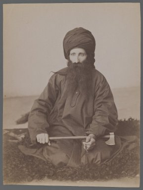 <em>Portrait of a Dervish</em>, late 19th-early 20th century. Albumen silver photograph, 8 1/8 x 6 1/8 in.  (20.7 x 15.6 cm). Brooklyn Museum, Purchase gift of Leona Soudavar in memory of Ahmad Soudavar, 1997.3.142 (Photo: Brooklyn Museum, 1997.3.142_IMLS_PS3.jpg)