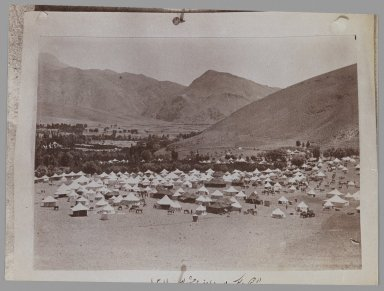 <em>A Photogragh of a Photograph of a Royal Tent Encampment, One of 274 Vintage Photographs</em>, late 19th-early 20th century. Albumen silver photograph, 5 1/16 x 6 7/8 in.  (12.9 x 17.4 cm). Brooklyn Museum, Purchase gift of Leona Soudavar in memory of Ahmad Soudavar, 1997.3.143 (Photo: Brooklyn Museum, 1997.3.143_IMLS_PS3.jpg)
