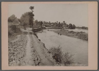 <em>Thatched Cottage by River, possibly Caspian Area, One of 274 Vintage Photographs</em>, late 19th-early 20th century. Gelatin silver printing out paper, Photo:  6 7/16 x 8 1/4 in.  (16.4 x 21.0 cm);. Brooklyn Museum, Purchase gift of Leona Soudavar in memory of Ahmad Soudavar, 1997.3.167 (Photo: Brooklyn Museum, 1997.3.167_IMLS_PS3.jpg)