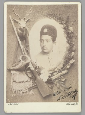 Abdullah Qajar. <em>Official Royal Portrait of Prince Nosratollah, One of 274 Vintage Photographs</em>, 1899. Albumen silver photograph, photograph: 8 5/8 x 6 5/16 in. (21.9 x 16 cm). Brooklyn Museum, Purchase gift of Leona Soudavar in memory of Ahmad Soudavar, 1997.3.181 (Photo: Brooklyn Museum, 1997.3.181_IMLS_PS3.jpg)