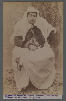 <em>A Persian Woman Holding her Braids, One of 274 Vintage Photographs</em>, late 19th-early 20th century. Albumen silver photograph, 8 1/16 x 5 1/4 in.  (20.4 x 13.3 cm). Brooklyn Museum, Purchase gift of Leona Soudavar in memory of Ahmad Soudavar, 1997.3.18 (Photo: Brooklyn Museum, 1997.3.18_IMLS_PS3.jpg)