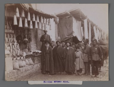 <em>Persian Grocer Shop,  One of 274 Vintage Photographs</em>, late 19th-early 20th century. Albumen silver photograph, 6 1/8 x 8 1/8 in.  (15.5 x 20.7 cm). Brooklyn Museum, Purchase gift of Leona Soudavar in memory of Ahmad Soudavar, 1997.3.222 (Photo: Brooklyn Museum, 1997.3.222_IMLS_PS3.jpg)