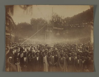 <em>A Crowd of Men and Women Gathered to Celebrate the Granting of a Constitution, One of 274 Vintage Photographs</em>, late 19th-early 20th century. Albumen silver photograph, 7 1/4 x 8 3/16 in.  (18.4 x 20.8 cm). Brooklyn Museum, Purchase gift of Leona Soudavar in memory of Ahmad Soudavar, 1997.3.227 (Photo: Brooklyn Museum, 1997.3.227_IMLS_PS3.jpg)