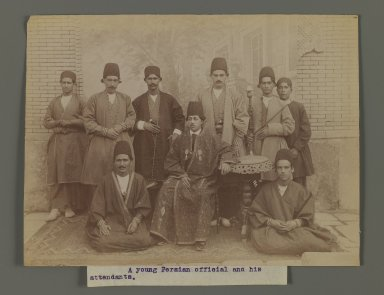 <em>A Young  Persian Officer and His Attendants, One of 274 Vintage Photographs</em>, late 19th-early 20th century. Albumen silver photograph, 6 1/16 x 8 in.  (15.4 x 20.3 cm). Brooklyn Museum, Purchase gift of Leona Soudavar in memory of Ahmad Soudavar, 1997.3.228 (Photo: Brooklyn Museum, 1997.3.228_IMLS_PS3.jpg)