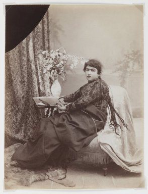 Antoin Sevruguin. <em>Women with Braids</em>, late 19th century. Albumen silver photograph, 9 1/4 x 6 3/16 in.  (23.5 x 15.7 cm). Brooklyn Museum, Purchase gift of Leona Soudavar in memory of Ahmad Soudavar, 1997.3.22 (Photo: Brooklyn Museum, 1997.3.22_IMLS_PS3.jpg)