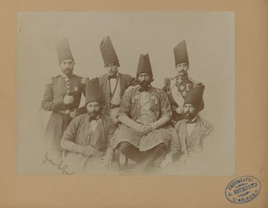 Gustave le Grand. <em>Members of the Special Mission of Persia to the Courts of Europe led by Farroukh Khan, Amin al-Dowleh, One of 274 Vintage Photographs</em>, 1857. Gelatin silver printing out paper, photograph: 6 11/16 x 8 15/16 in. (17 x 22.7 cm). Brooklyn Museum, Purchase gift of Leona Soudavar in memory of Ahmad Soudavar, 1997.3.232 (Photo: Brooklyn Museum, 1997.3.232_IMLS_PS3.jpg)
