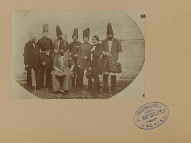 <em>Farroukh Khan, Amin al-Dowleh and his Suite with French Officials, One of 274 Vintage Photographs</em>, 1857. Gelatin silver printing out paper, photo:  3 11/16 x 5 9/16 in.  (9.4 x 14.1 cm);. Brooklyn Museum, Purchase gift of Leona Soudavar in memory of Ahmad Soudavar, 1997.3.233 (Photo: Brooklyn Museum, 1997.3.233_IMLS_PS3.jpg)