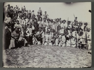 <em>A Group of Kurdish (?) Soldiers,   One of 274 Vintage Photographs</em>, late 19th-early 20th century. Gelatin silver printing out paper, 3 3/8 x 4 1/2 in.  (8.6 x 11.5 cm). Brooklyn Museum, Purchase gift of Leona Soudavar in memory of Ahmad Soudavar, 1997.3.241 (Photo: Brooklyn Museum, 1997.3.241_IMLS_PS3.jpg)