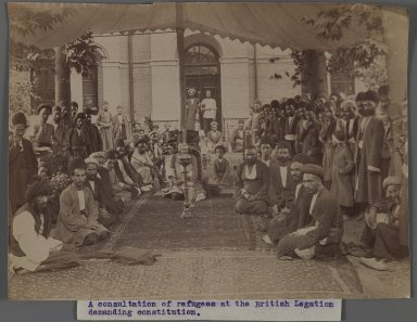 <em>A Consultation of Refugees at the British Legation Demanding Constitution II,  One of 274 Vintage Photographs</em>, late 19th-early 20th century. Albumen silver photograph, 6 1/8 x 8 1/8 in.  (15.6 x 20.7 cm). Brooklyn Museum, Purchase gift of Leona Soudavar in memory of Ahmad Soudavar, 1997.3.244 (Photo: Brooklyn Museum, 1997.3.244_IMLS_PS3.jpg)