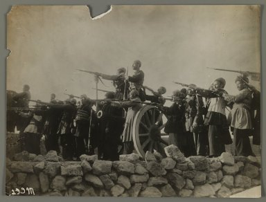 <em>Theatrical Photograph of Soldiers Pointing Guns,  One of 274 Vintage Photographs</em>, late 19th-early 20th century. Gelatin silver printing out paper, 7 5/16 x 9 5/8 in.  (18.5 x 24.5 cm). Brooklyn Museum, Purchase gift of Leona Soudavar in memory of Ahmad Soudavar, 1997.3.245 (Photo: Brooklyn Museum, 1997.3.245_IMLS_PS3.jpg)