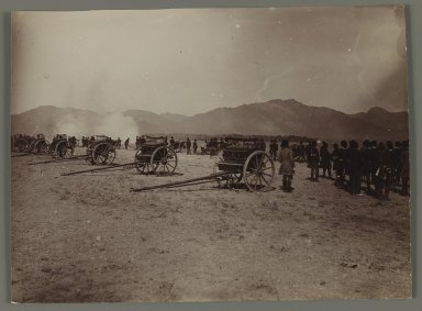 <em>A  Military Review with Cannons,  One of 274 Vintage Photographs</em>, late 19th-early 20th century. Gelatin silver printing out paper, 4 5/8 x 6 5/16 in.  (11.8 x 16.0 cm). Brooklyn Museum, Purchase gift of Leona Soudavar in memory of Ahmad Soudavar, 1997.3.246 (Photo: Brooklyn Museum, 1997.3.246_IMLS_PS3.jpg)