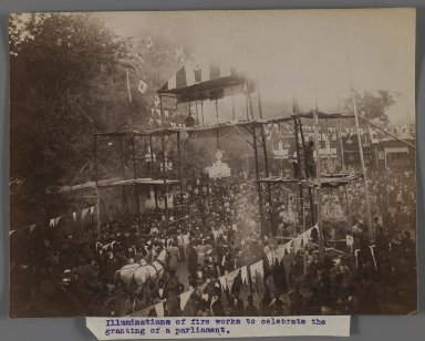 <em>A Crowd of Men and Women gathered to Celebrate the Granting of a Constitution III,  One of 274 Vintage Photographs</em>, late 19th-early 20th century. Albumen silver photograph, 6 3/16 x 11 in.  (15.7 x 27.9 cm). Brooklyn Museum, Purchase gift of Leona Soudavar in memory of Ahmad Soudavar, 1997.3.247 (Photo: Brooklyn Museum, 1997.3.247_IMLS_PS3.jpg)