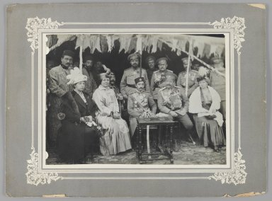 <em>General Yanushkevich and the Russian Consul at a Garden Party given by the Persian Crown Prince at Tabriz,  One of 274 Vintage Photographs</em>, 1916. Gelatin silver printing out paper, photo: 6 5/8 x 9 1/8 in.  (16.8 x 23.2 cm);. Brooklyn Museum, Purchase gift of Leona Soudavar in memory of Ahmad Soudavar, 1997.3.257 (Photo: Brooklyn Museum, 1997.3.257_IMLS_PS3.jpg)